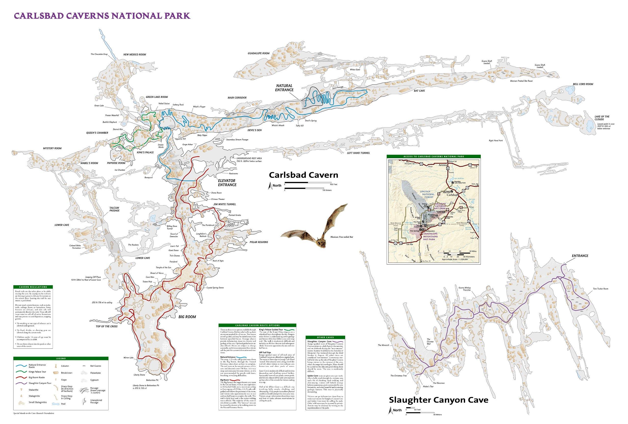 Carlsbad Caverns Maps on