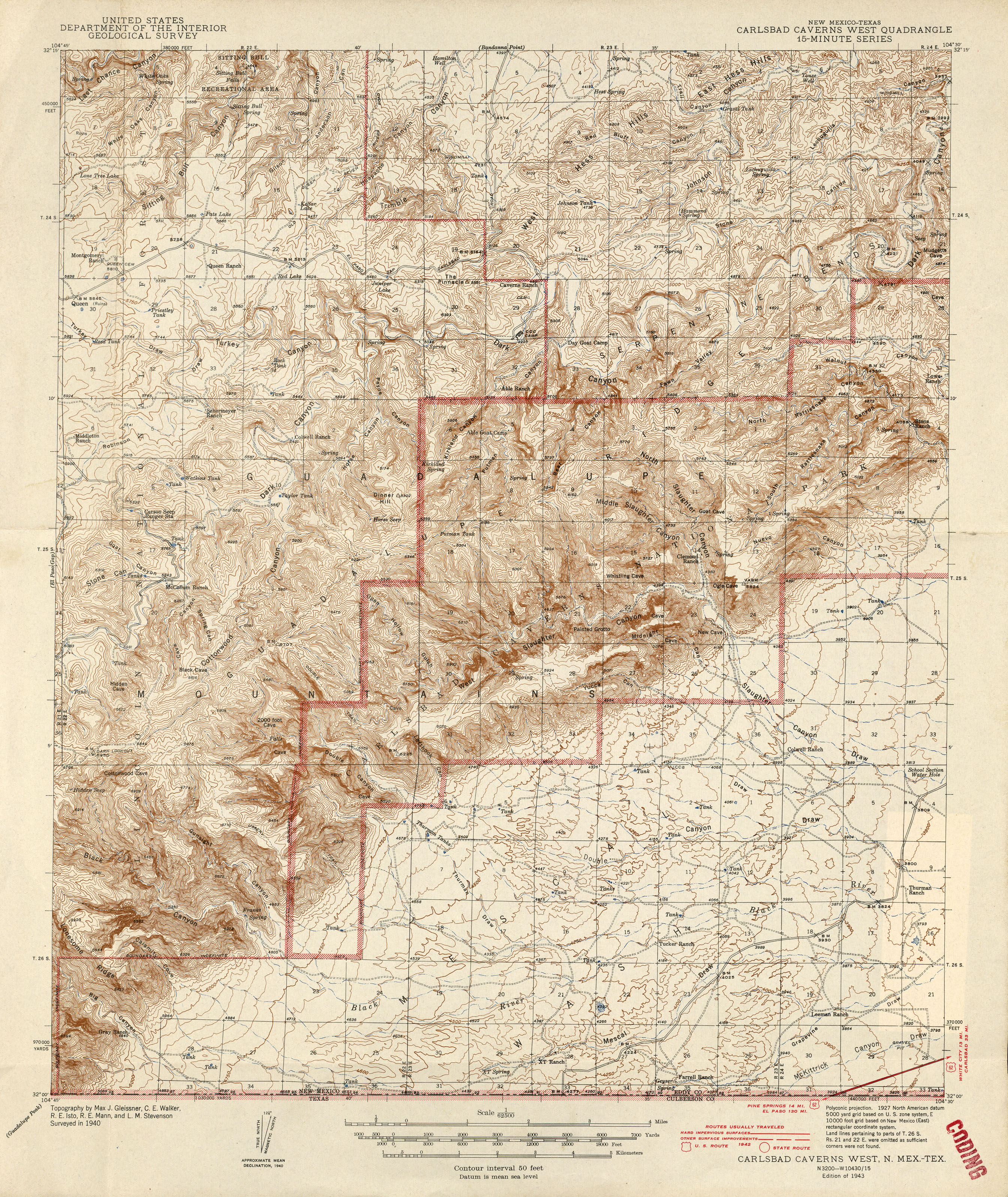 Carlsbad Caverns Maps - Topographical map of new mexico